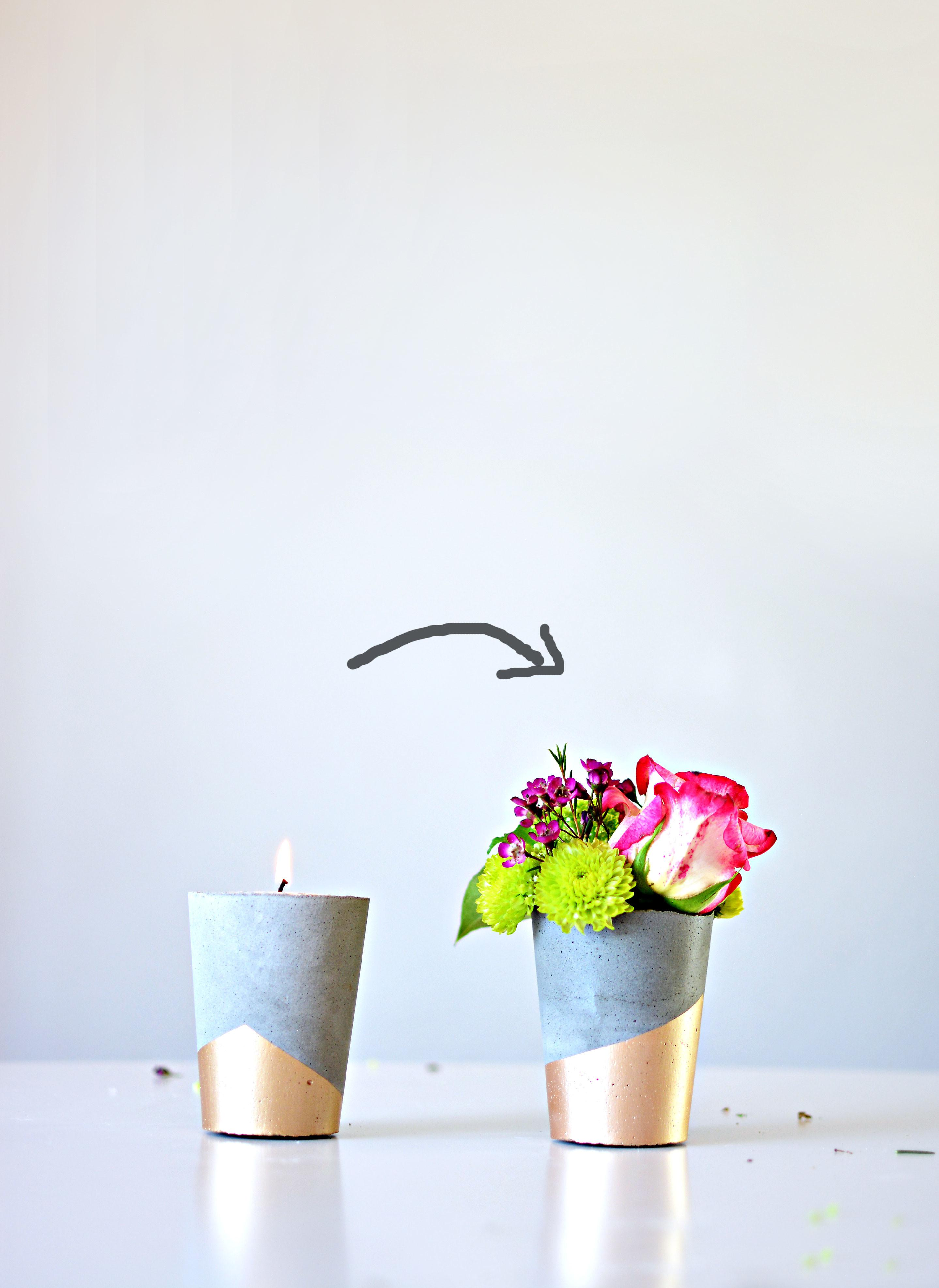 Diy Cement Candle Vases Little Inspiration