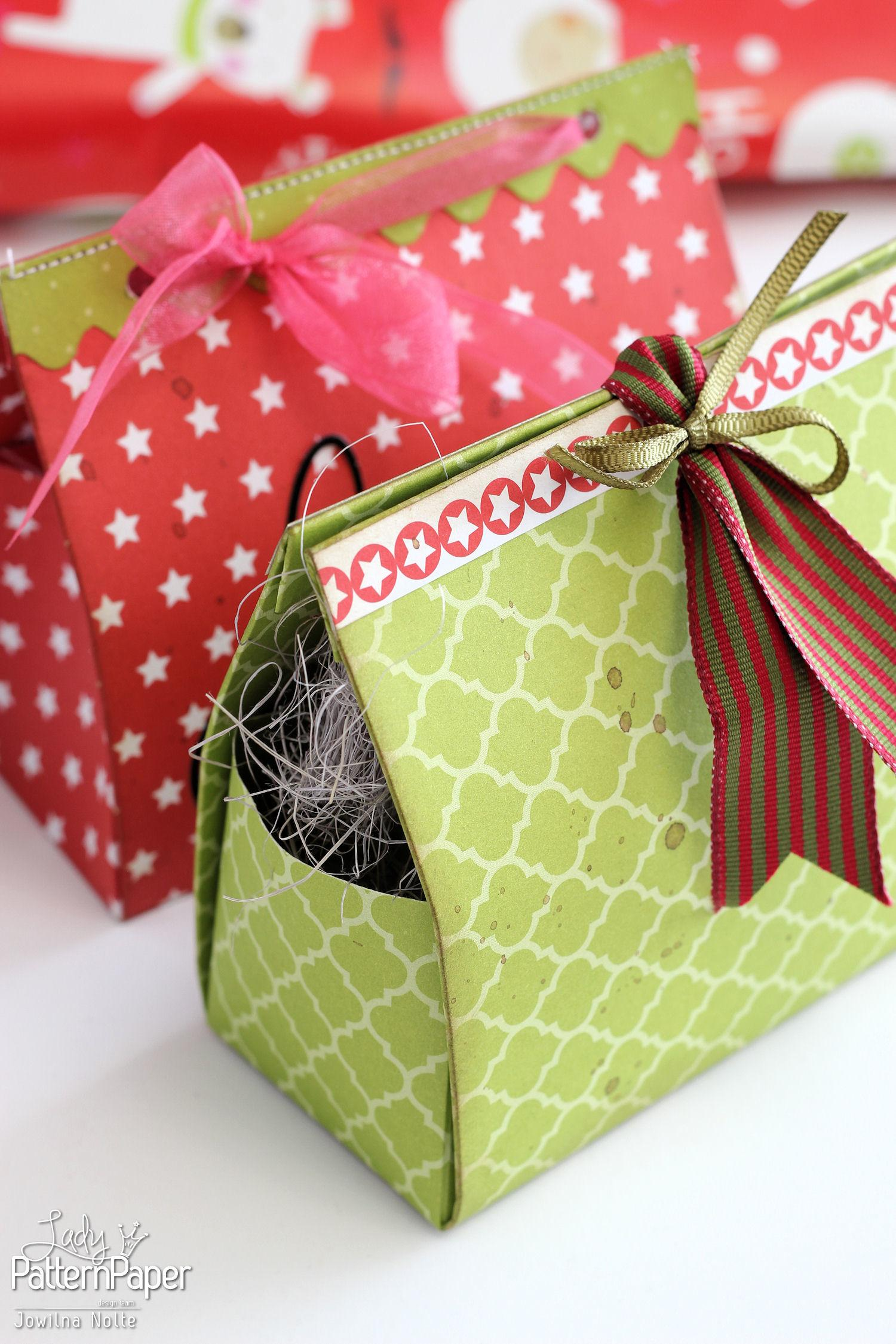 Diy Christmas Gift Boxes Lady Pattern Paper