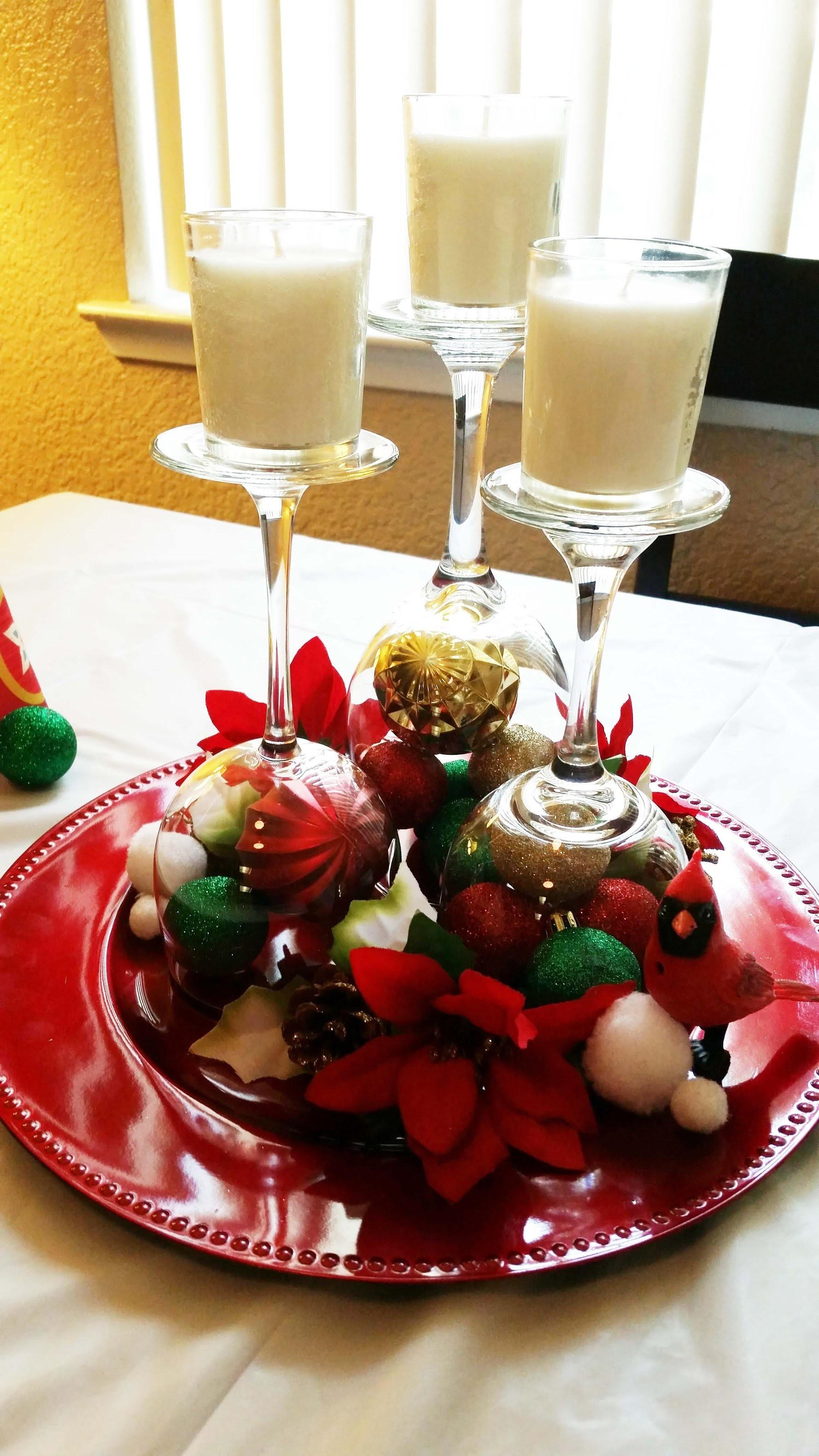 Diy Christmas Wine Glass Table Centerpieces