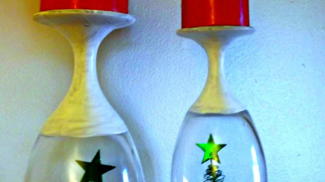 Diy Christmas Wine Glasses Candle Holder Worthey Life