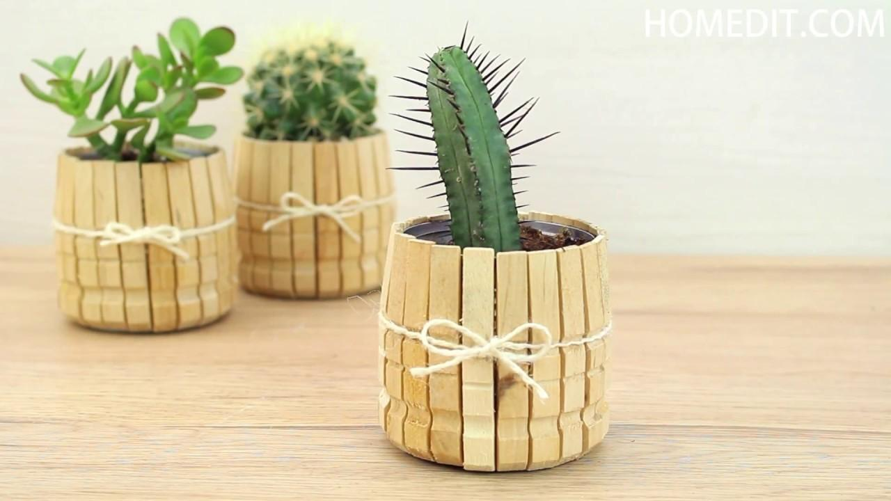 Diy Clothespin Planters Crafts Projects