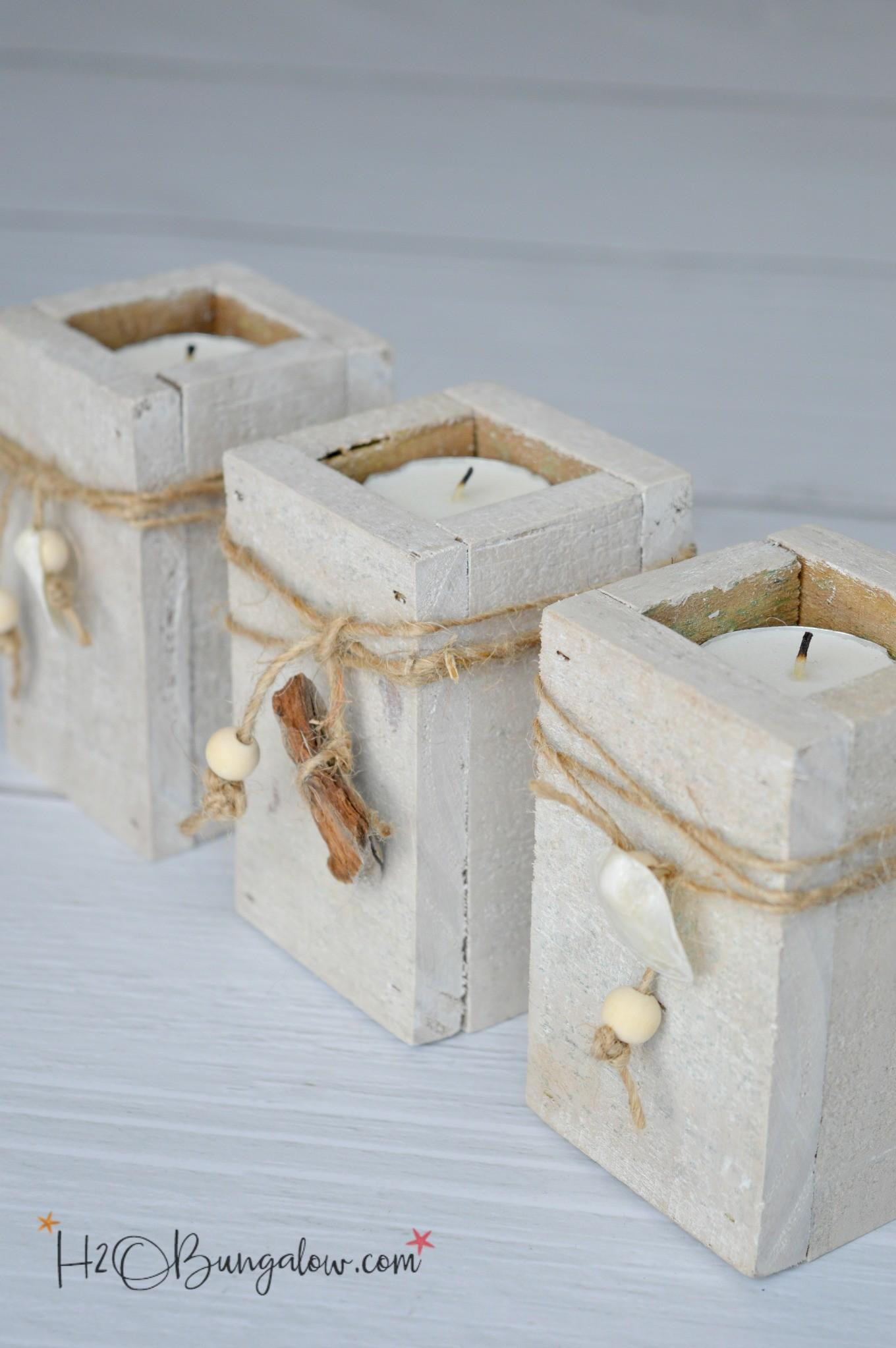Diy Coastal Tealight Candle Holders H20bungalow