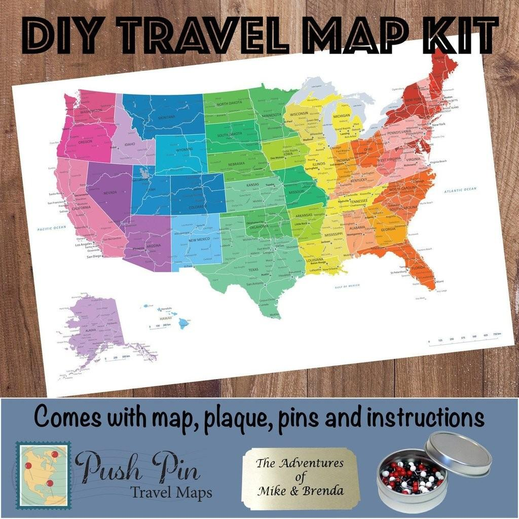 Diy Colorful Push Pin Travel Map Kit Maps