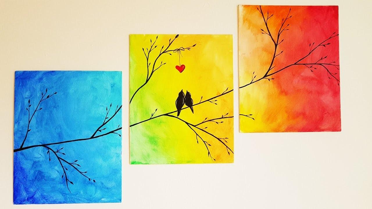 Diy Colorful Tree Canvas Painting Room Decor