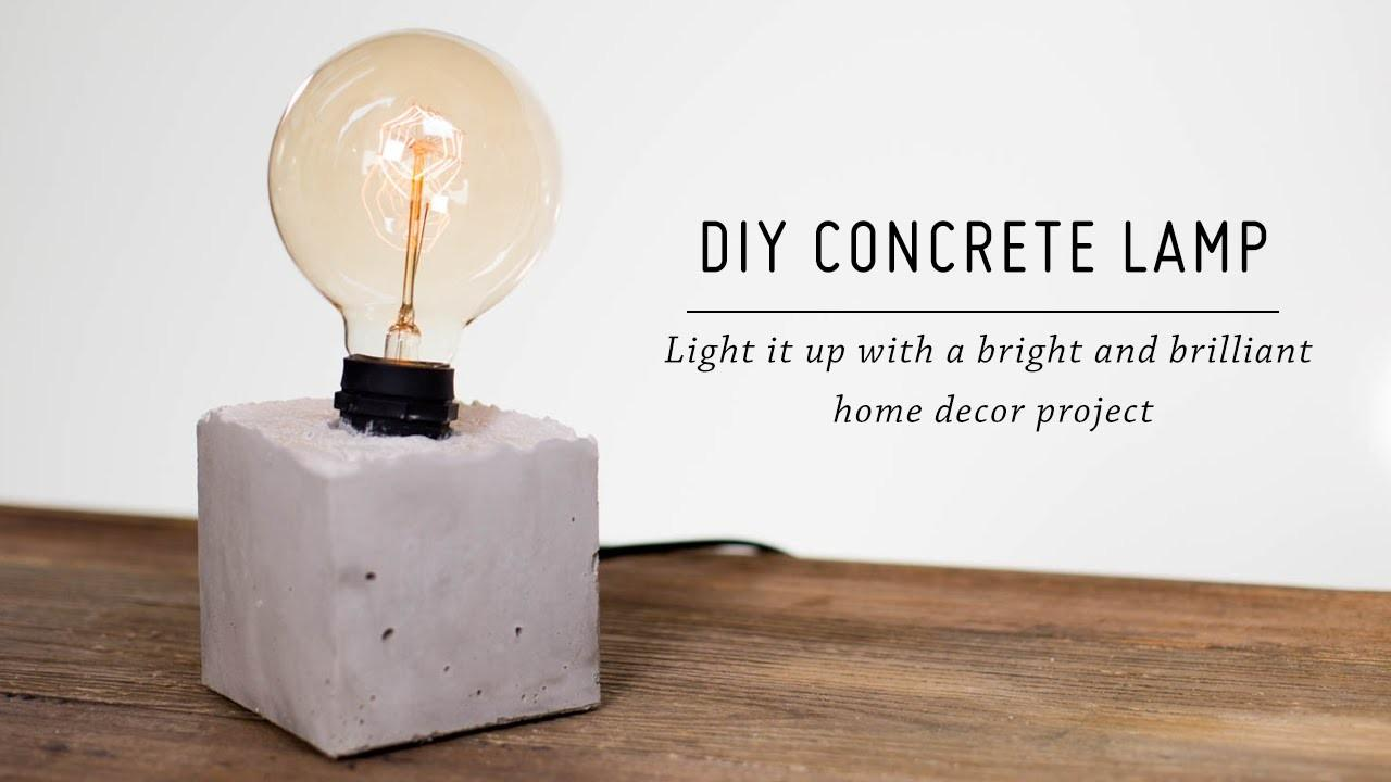 Diy Concrete Lamp Home Decor Tutorial Kate