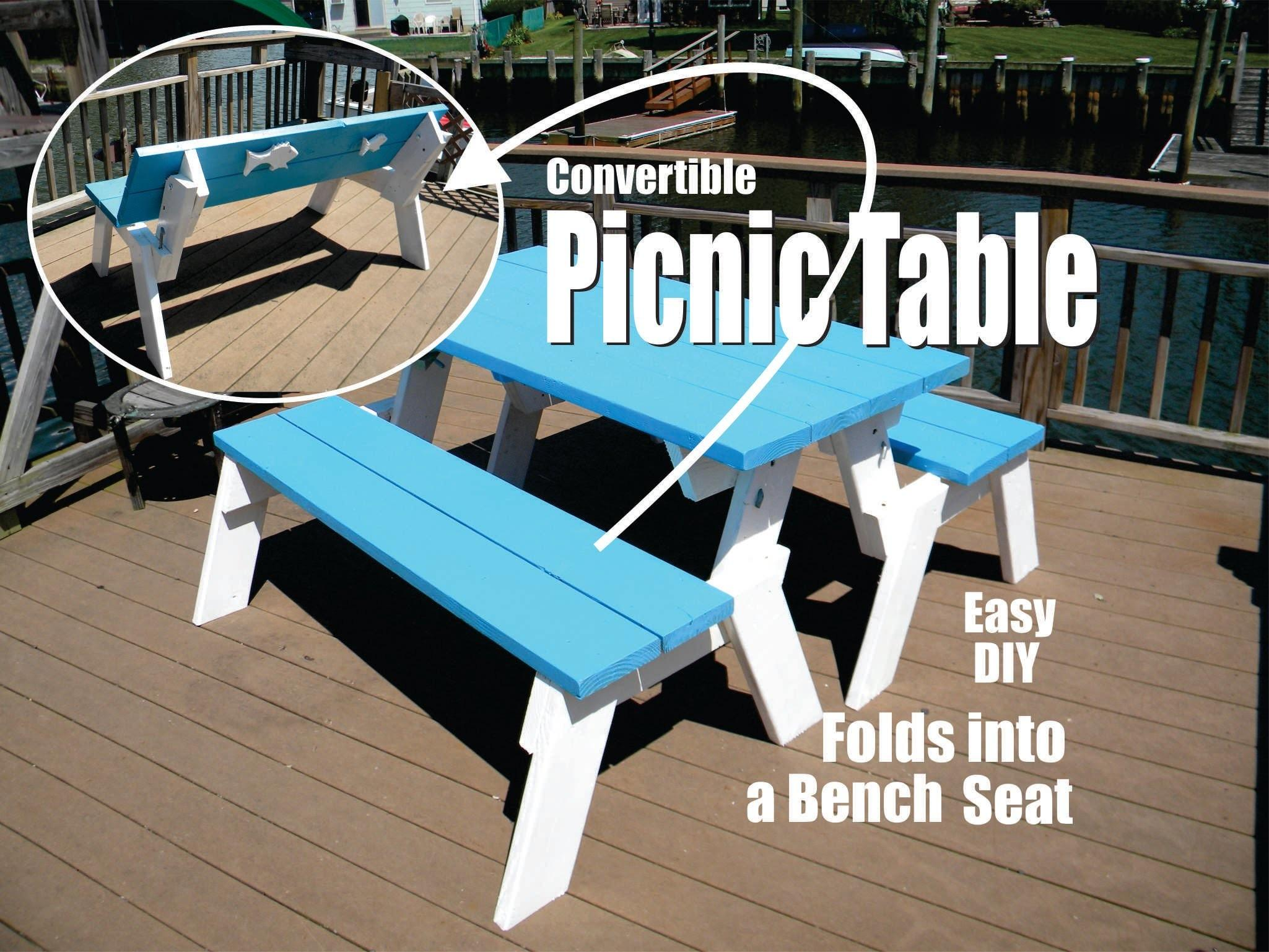 Diy Convertible Picnic Table Folds Into Bench Seats