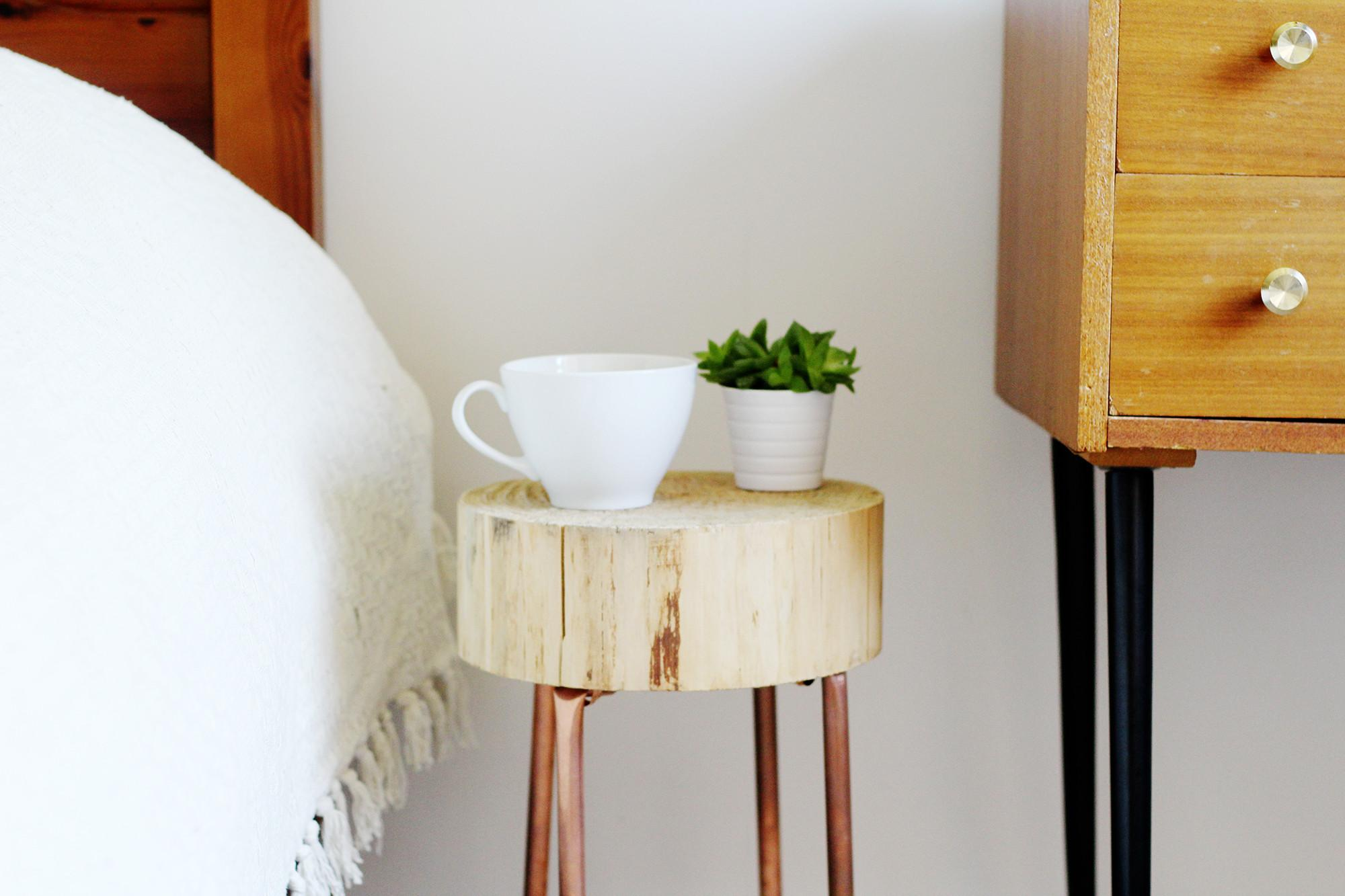 Diy Copper Pipe Wood Slice Side Table Fall