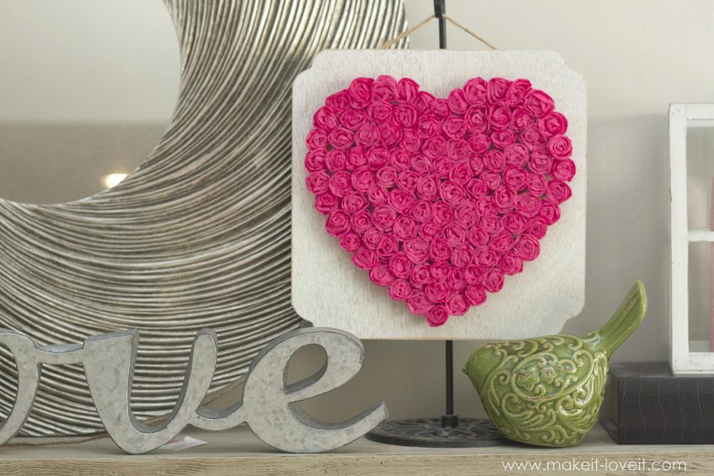 Diy Crepe Paper Rose Heart Inexpensive Valentine Decor