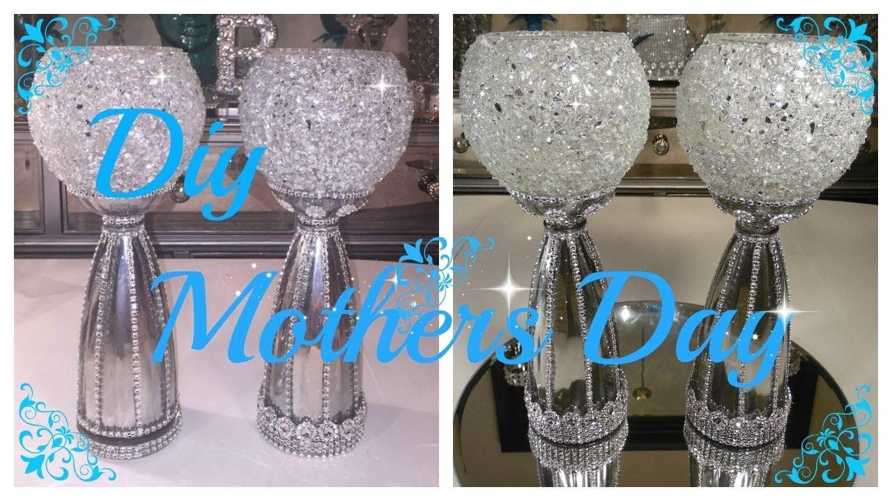Diy Crushed Glass Bling Vase Candle Holder