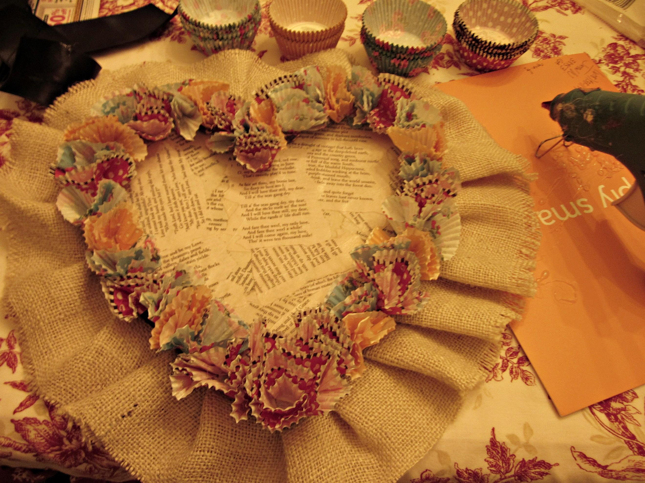 Diy Cupcake Liner Heart Wreath Cultivated Nest