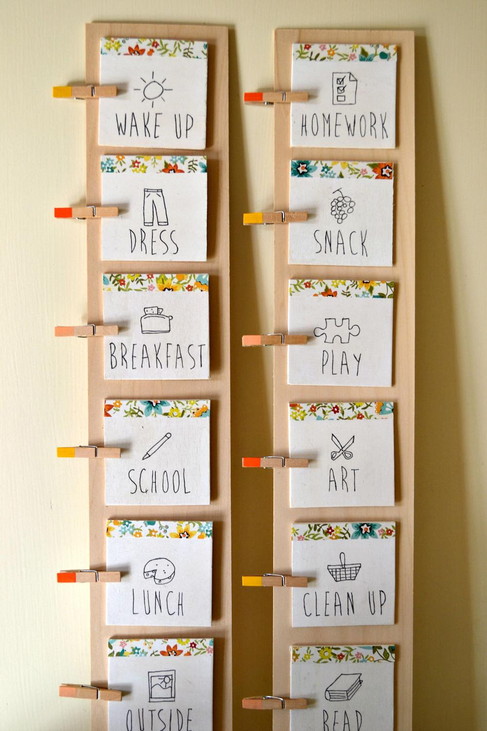 Diy Daily Routine Chart Kids Listening Litany