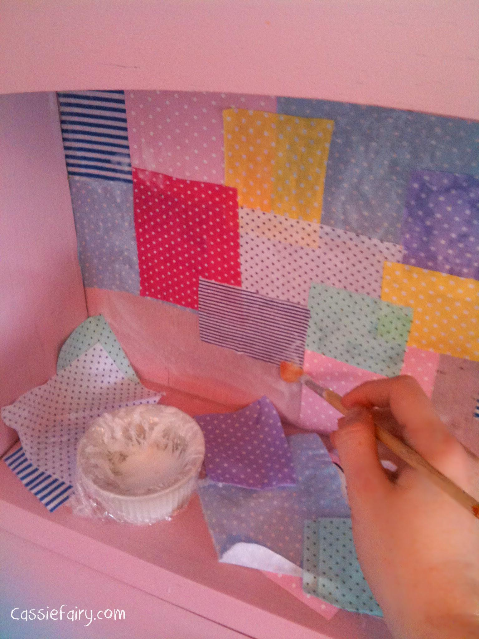 Diy Decoupage Patchwork Fabric Renovate Old Desk