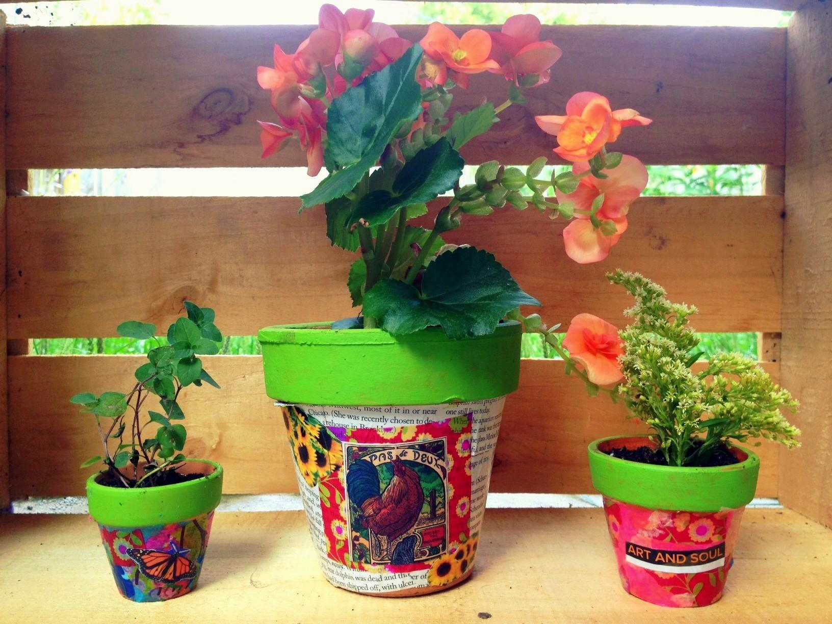 Diy Decoupage Project Flower Pots Spark