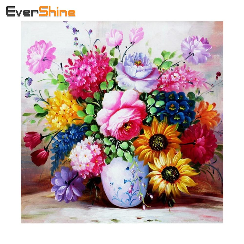 Diy Diamond Painting Colorful Flowers Vase Crystal