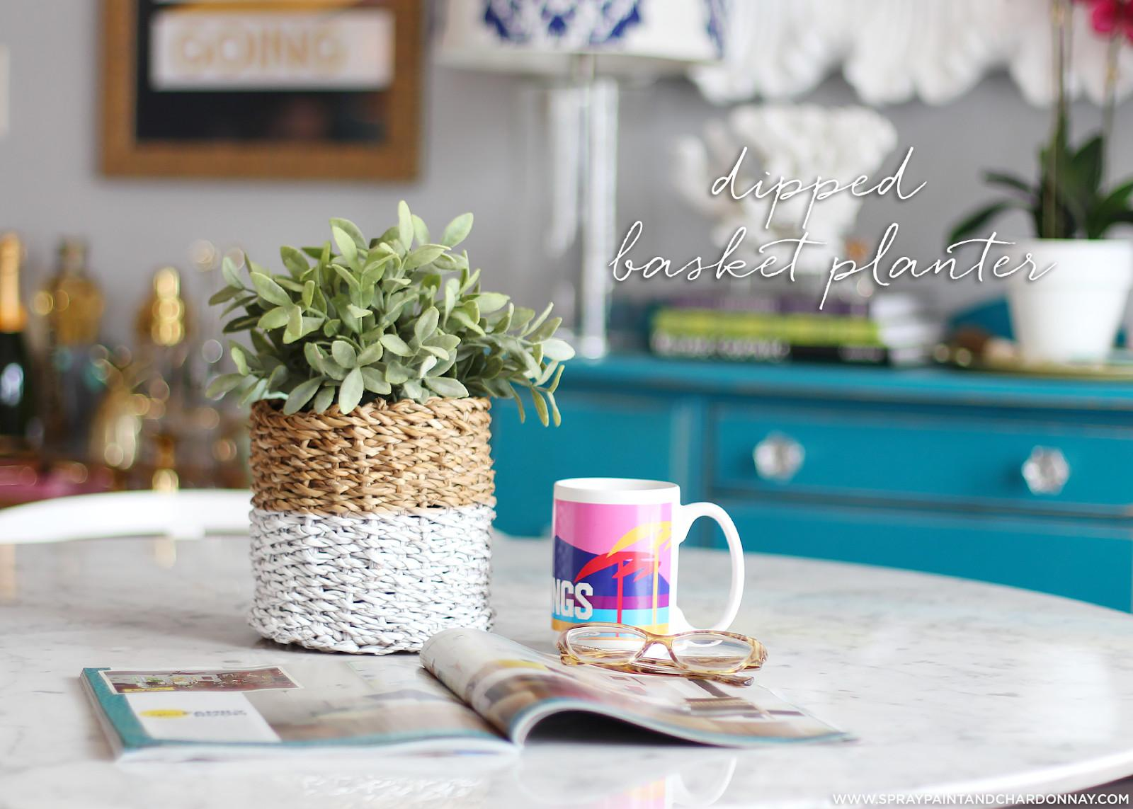 Diy Dipped Basket Planter Spray Paint Chardonnay