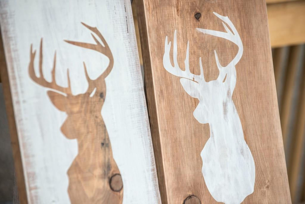 Diy Distressed Deer Head Silhouette Rustic Wood Sign