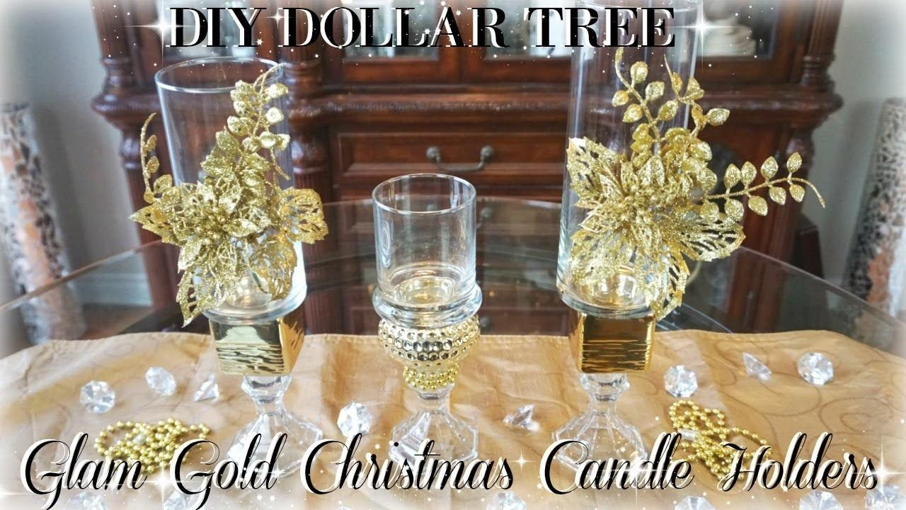 Diy Dollar Tree Glam Gold Christmas Candle Holders