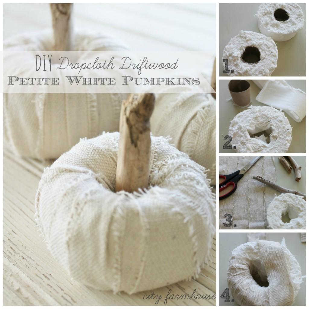 Diy Dropcloth Driftwood Petite White Pumpkins City Farmhouse