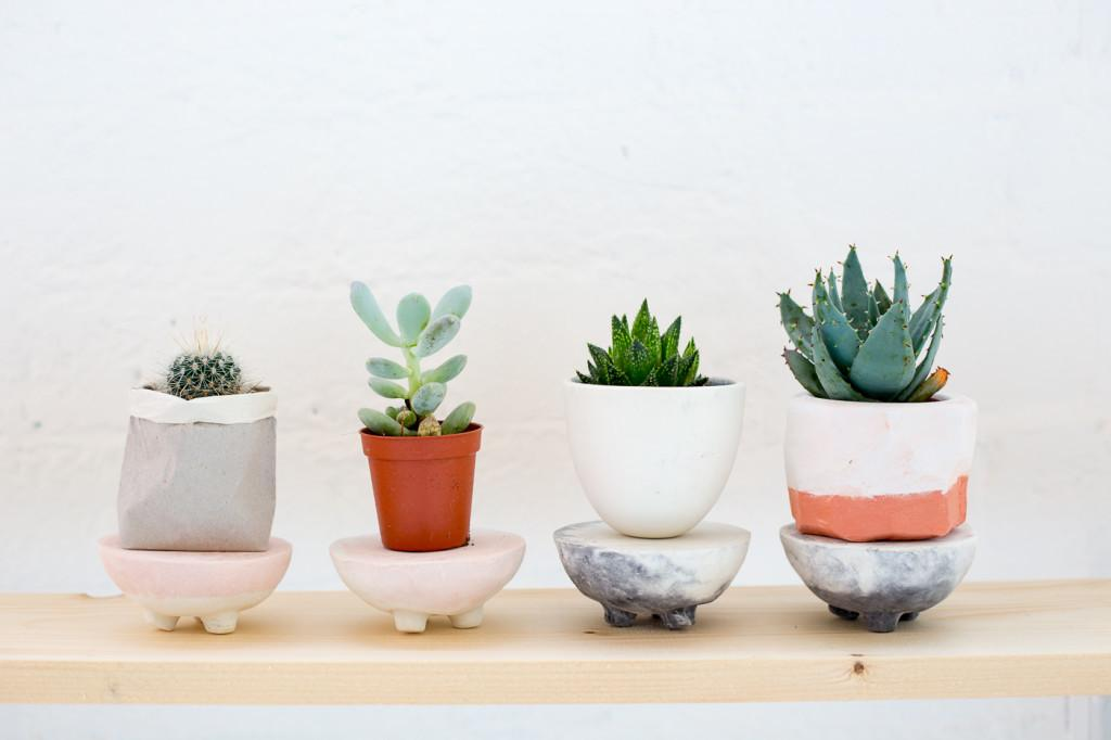 Diy Dyed Marbled Concrete Planter Stands All Your