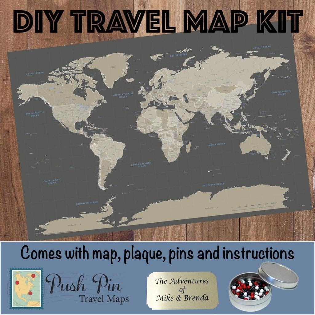 Diy Earth Toned World Push Pin Travel Map Kit
