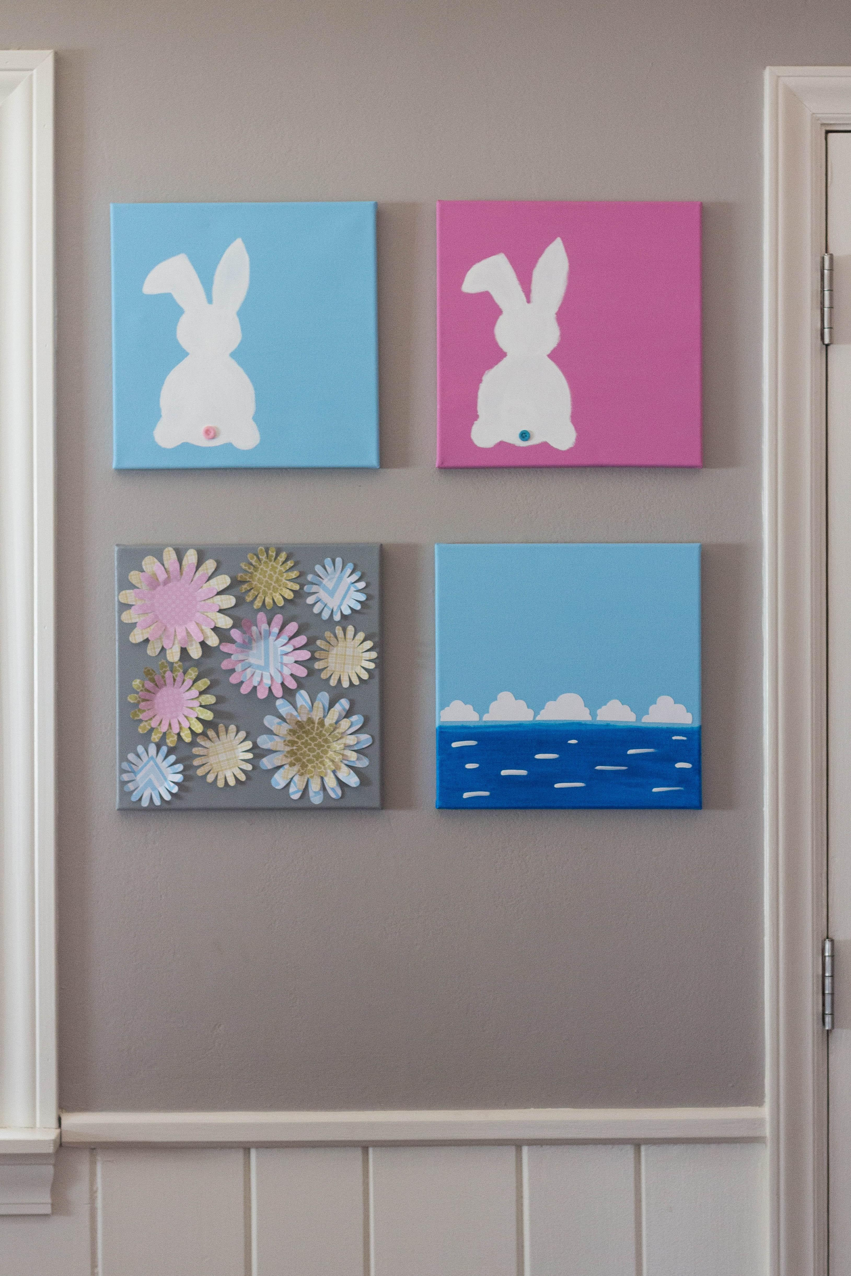 Diy Easter Bunny Canvas Wall Art Rose Clearfield
