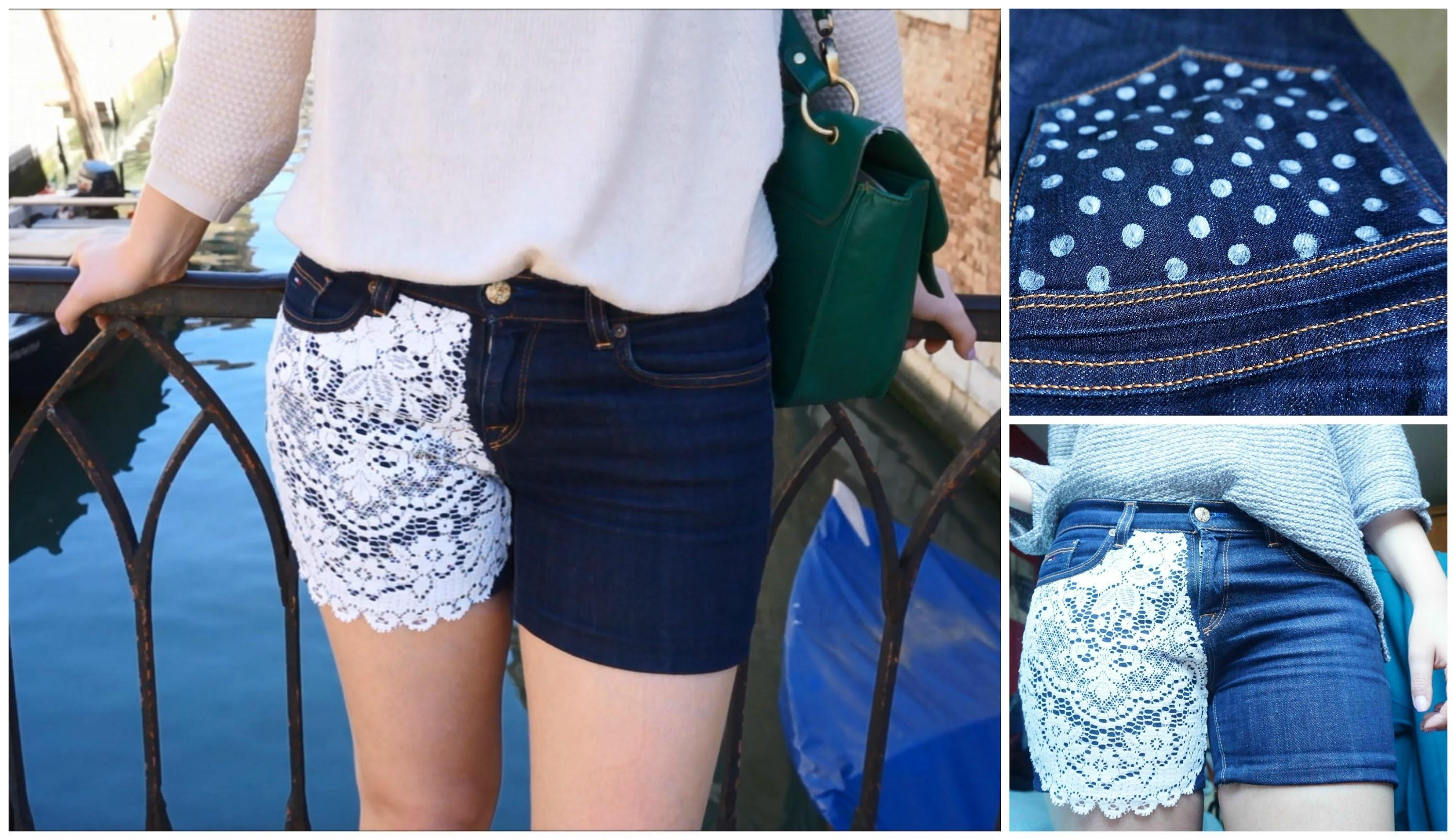 Diy Easy Lace Polka Dot Shorts