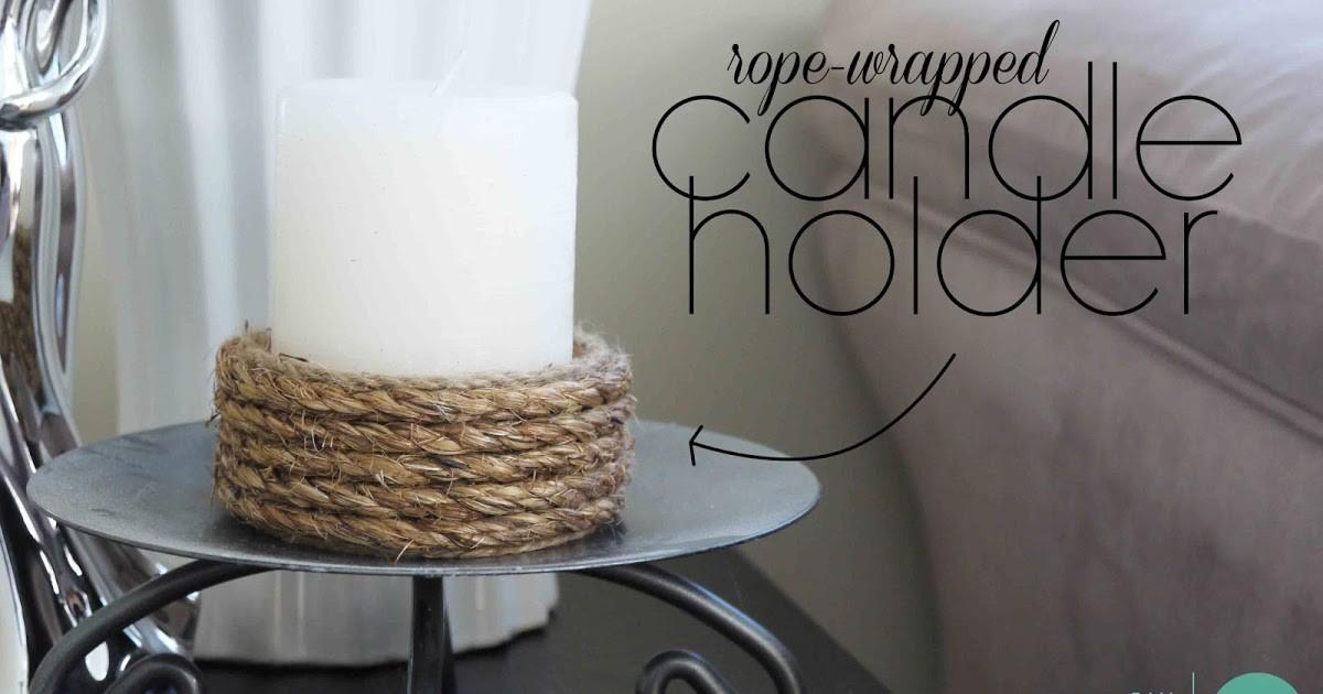 Diy Easy Rope Wrapped Candle Holder Minted Strawberry