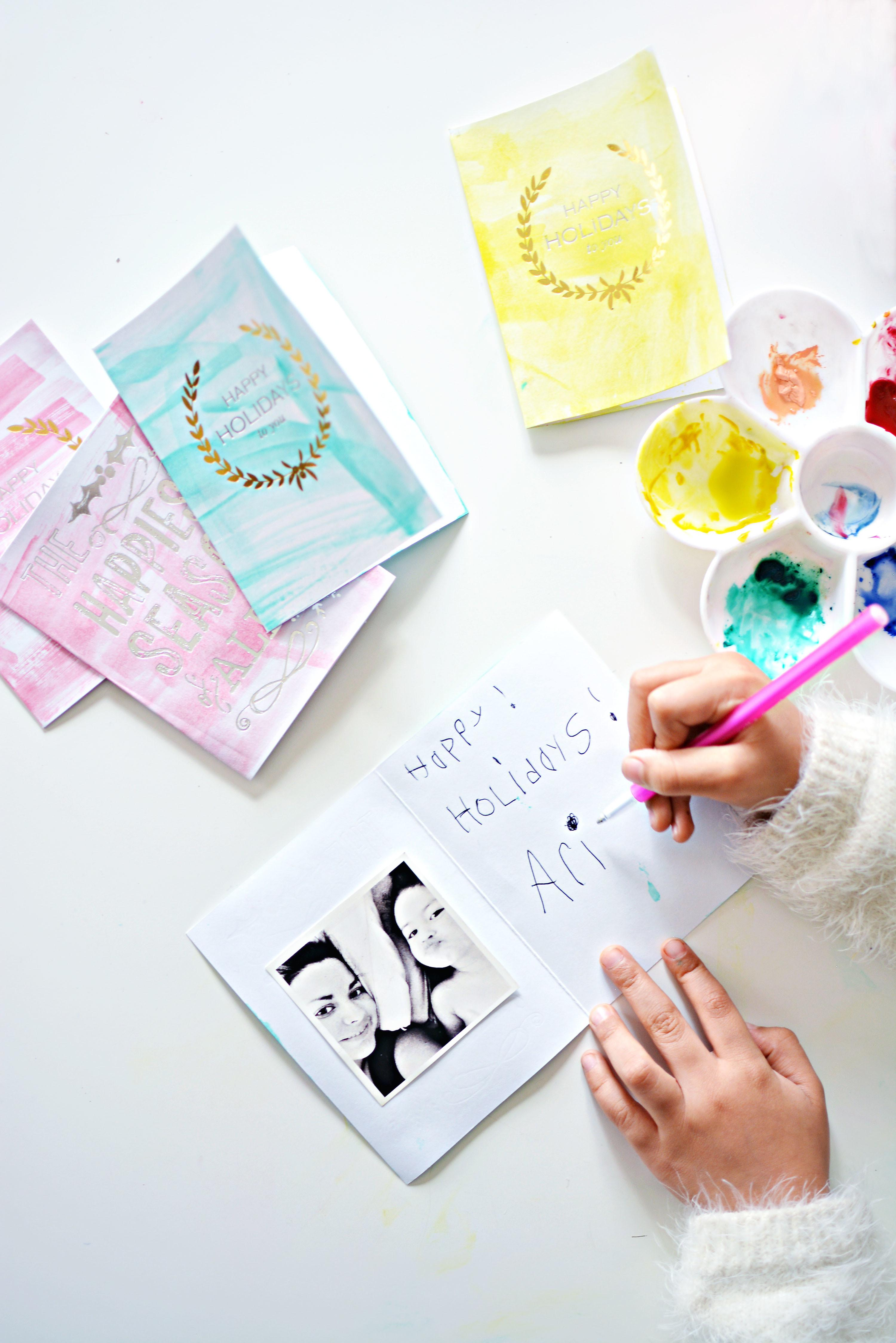 Diy Easy Watercolor Christmas Cards Little Inspiration