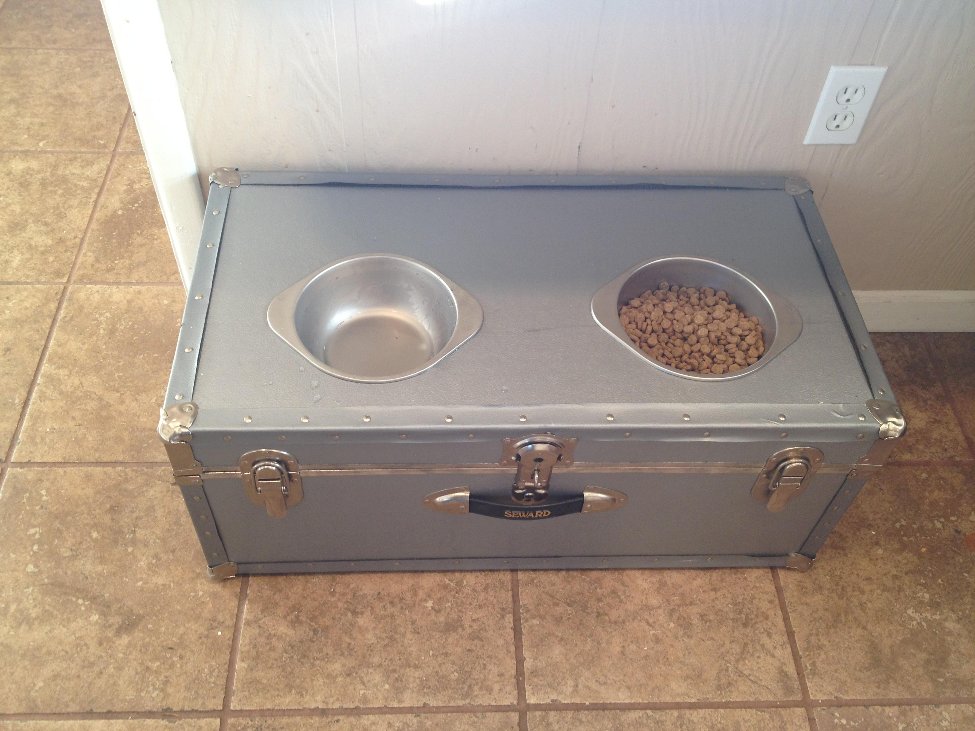 Diy Elevated Dog Feeder Vintage Trunk Bexbernard