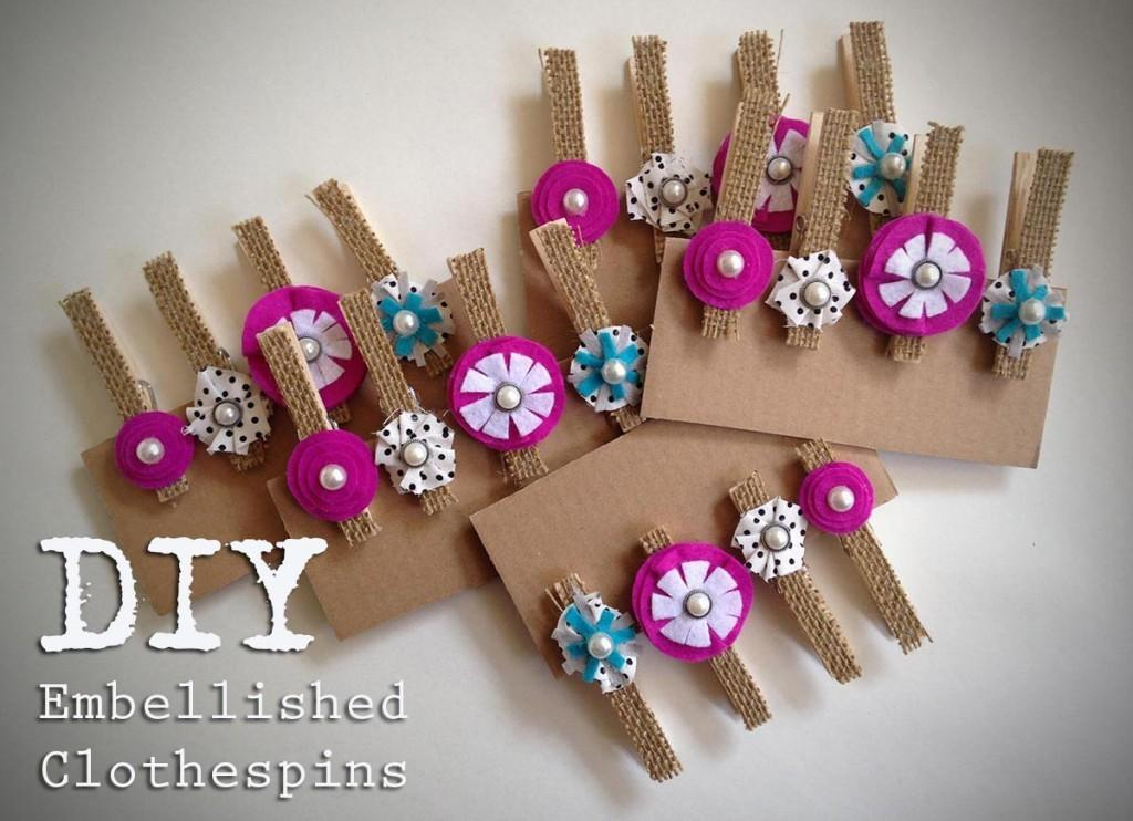 Diy Embellished Clothespins Happiness Homemade