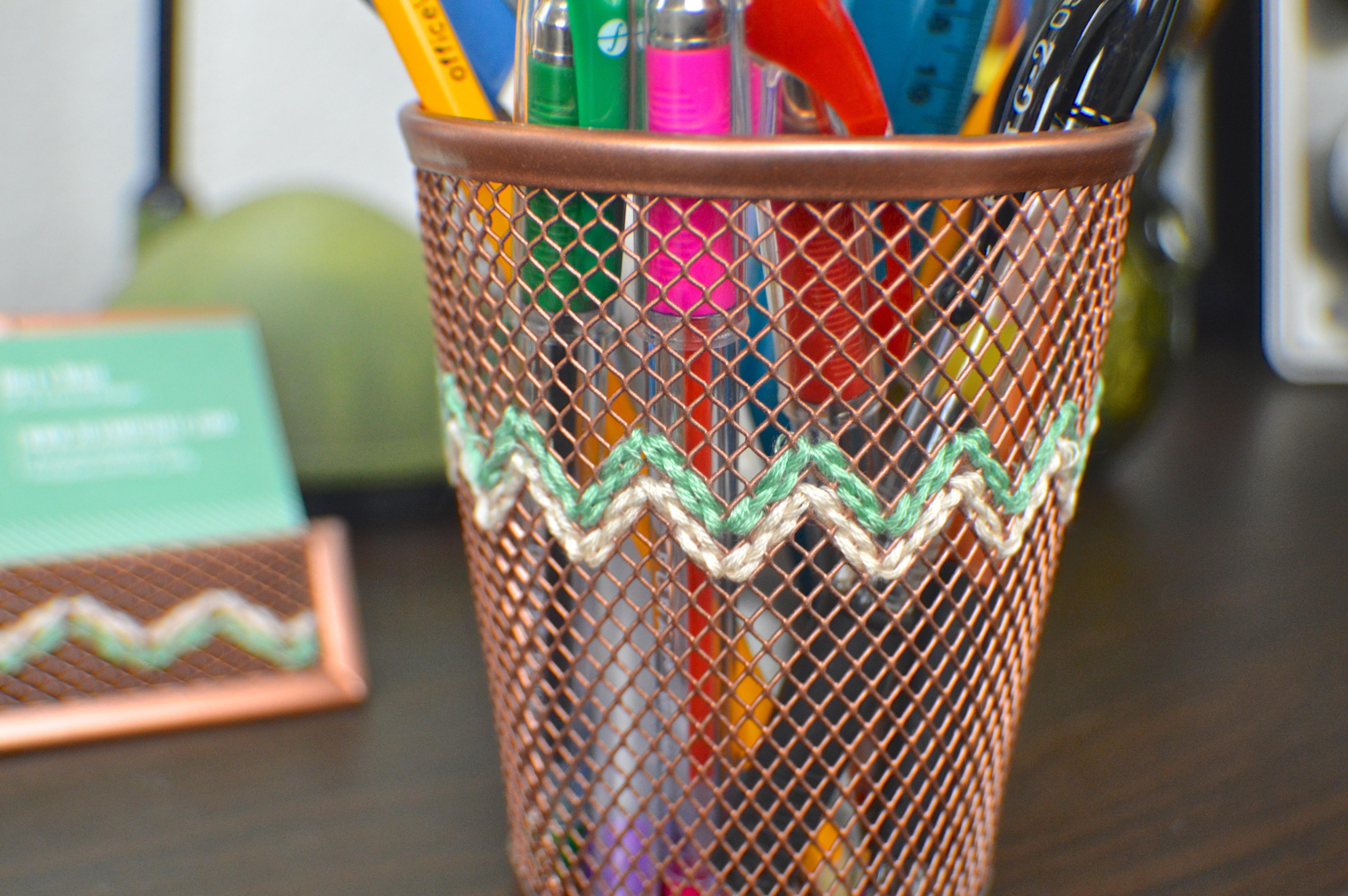 Diy Embroidered Copper Desk Accessories Revamperate