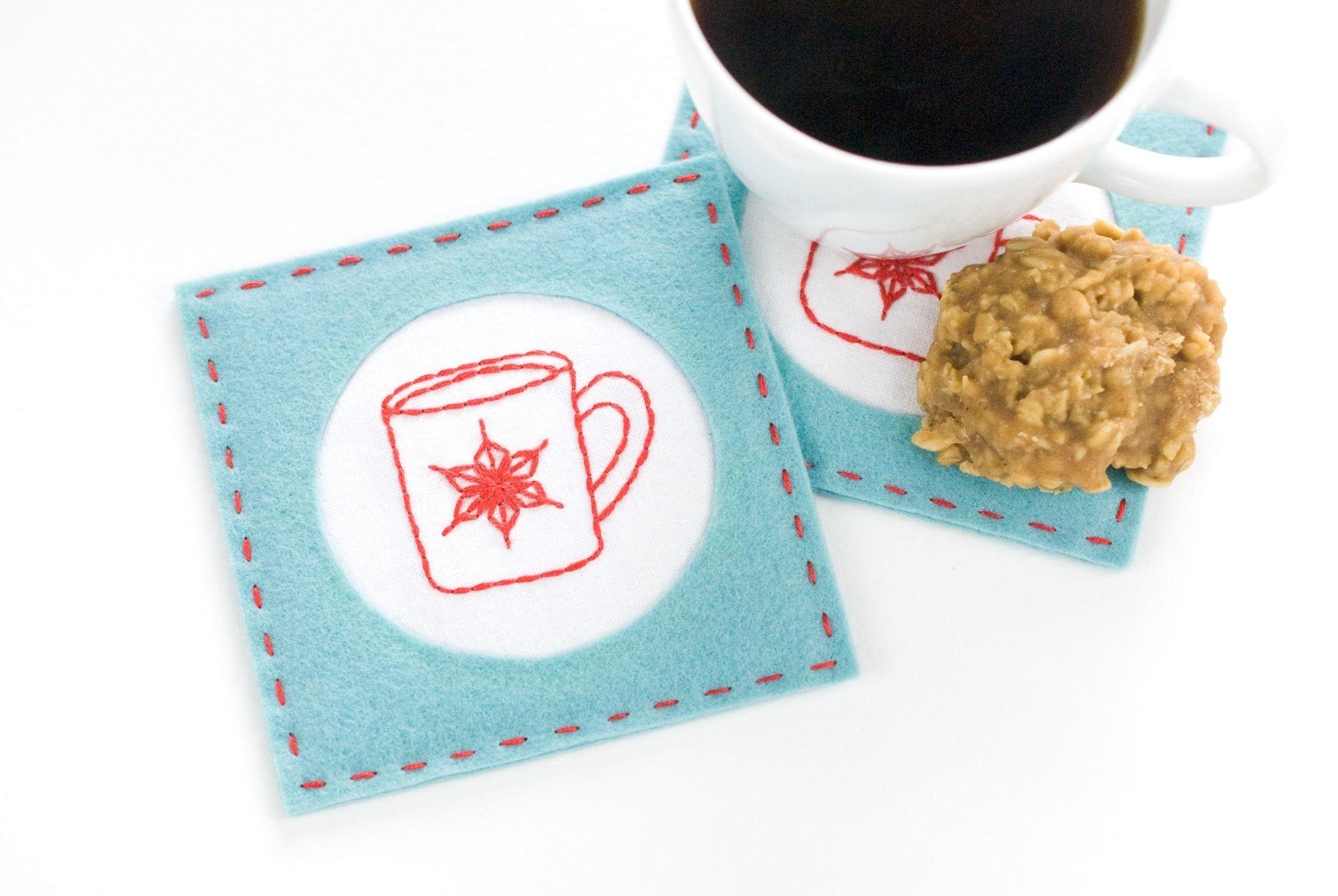 Diy Embroidered Felt Coasters
