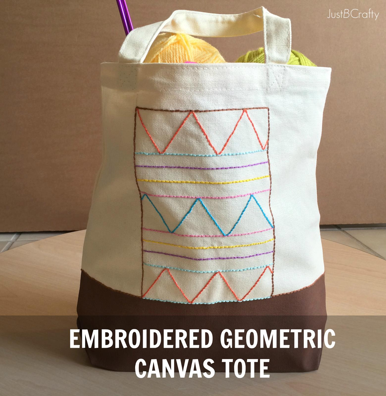 Diy Embroidered Geometric Canvas Tote Just Crafty