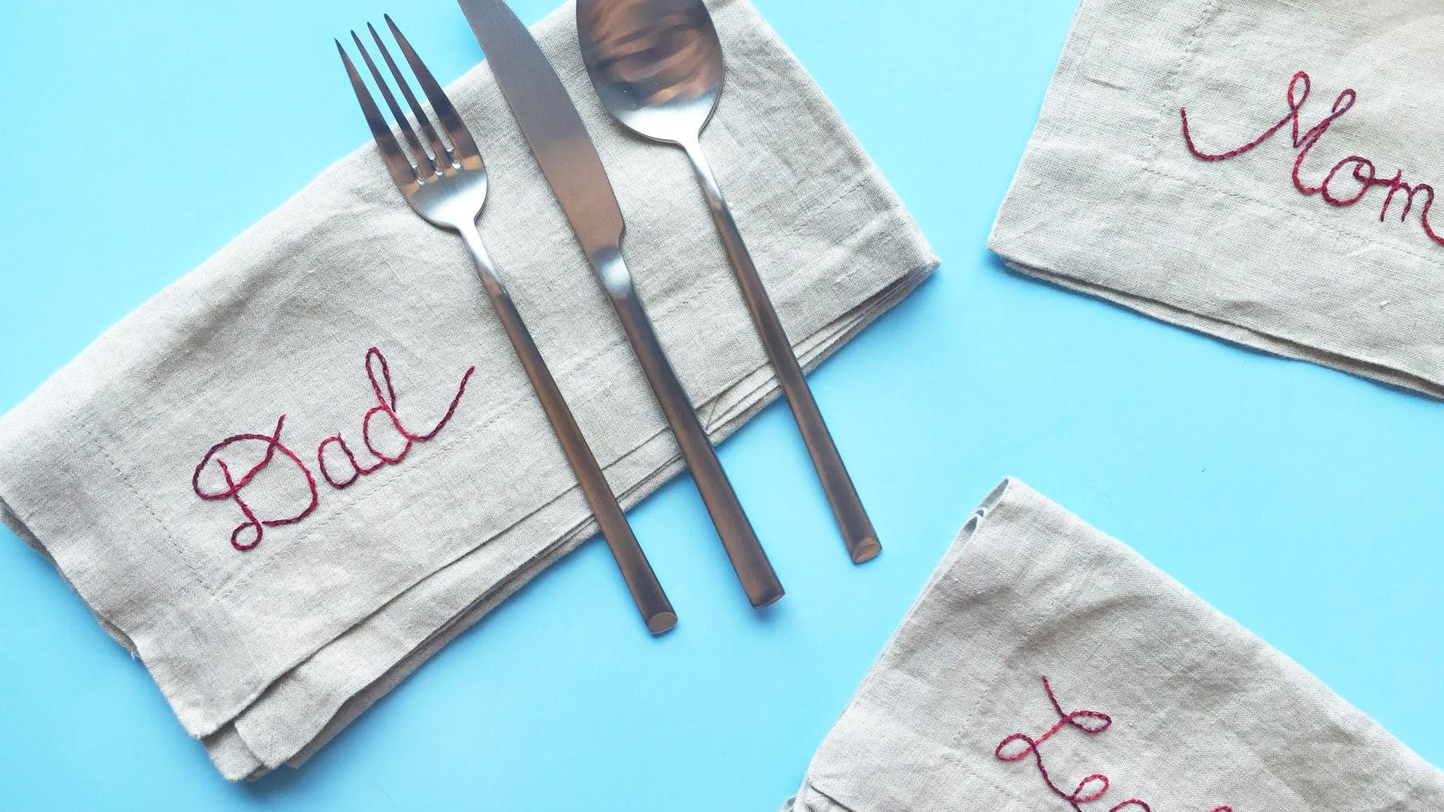 Diy Embroidered Place Card Napkins Made Easy