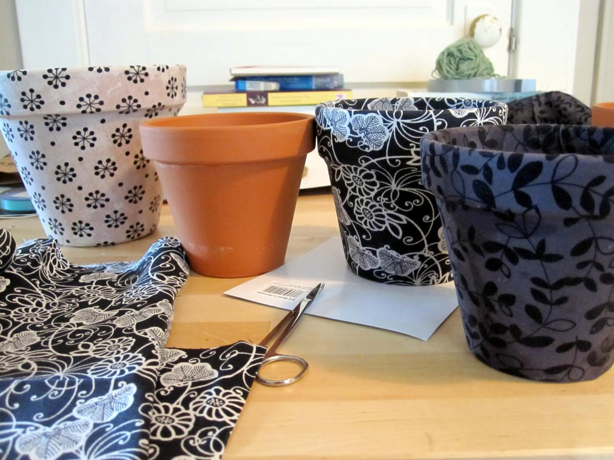 Diy Fabric Covered Pots First Bar
