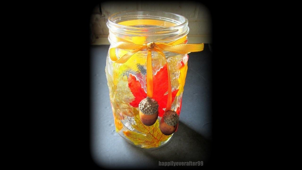 Diy Fall Leaves Candle Jar Crafts Projects