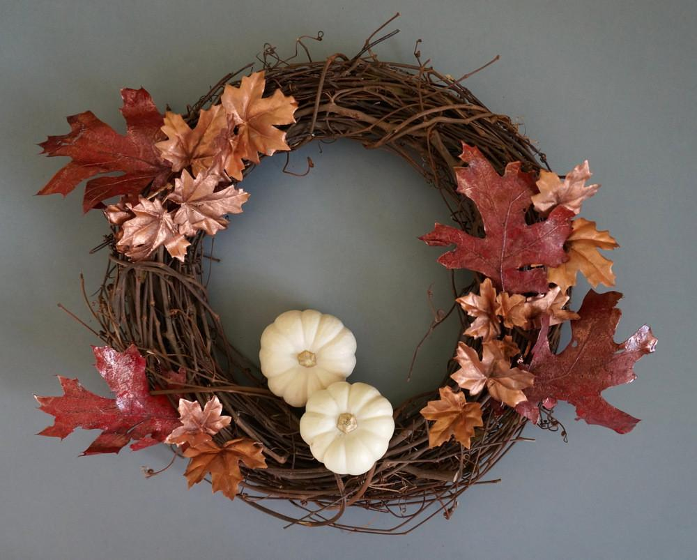 Diy Fall Wreath Metallic Shine