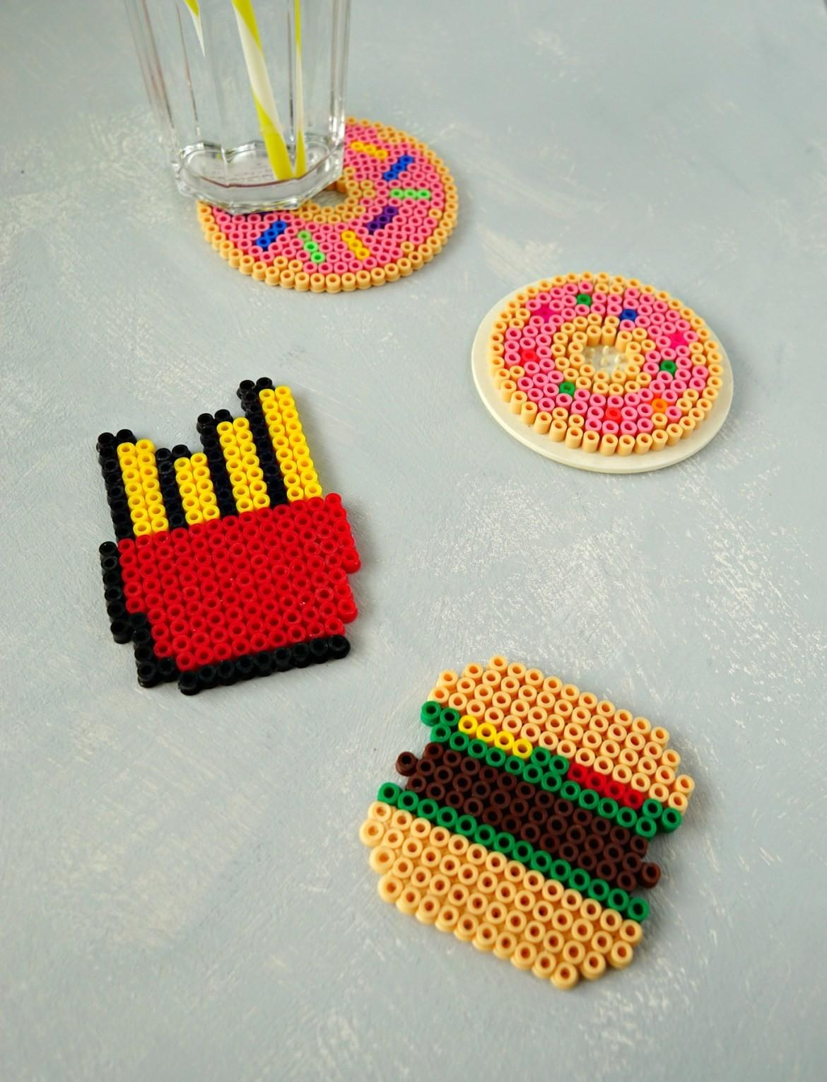 Diy Fast Food Perler Bead Coasters Makeup Dummy
