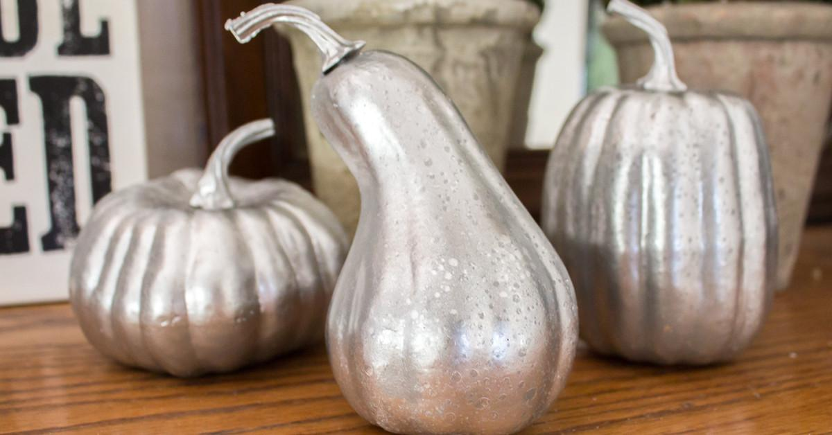 Diy Faux Mercury Glass Pumpkins Foam