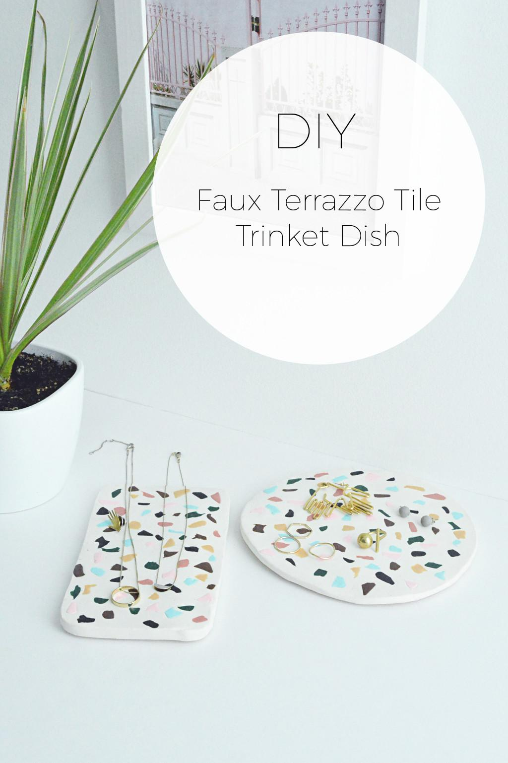 Diy Faux Terrazzo Tile Trinket Dish Stylishly Tidy Life