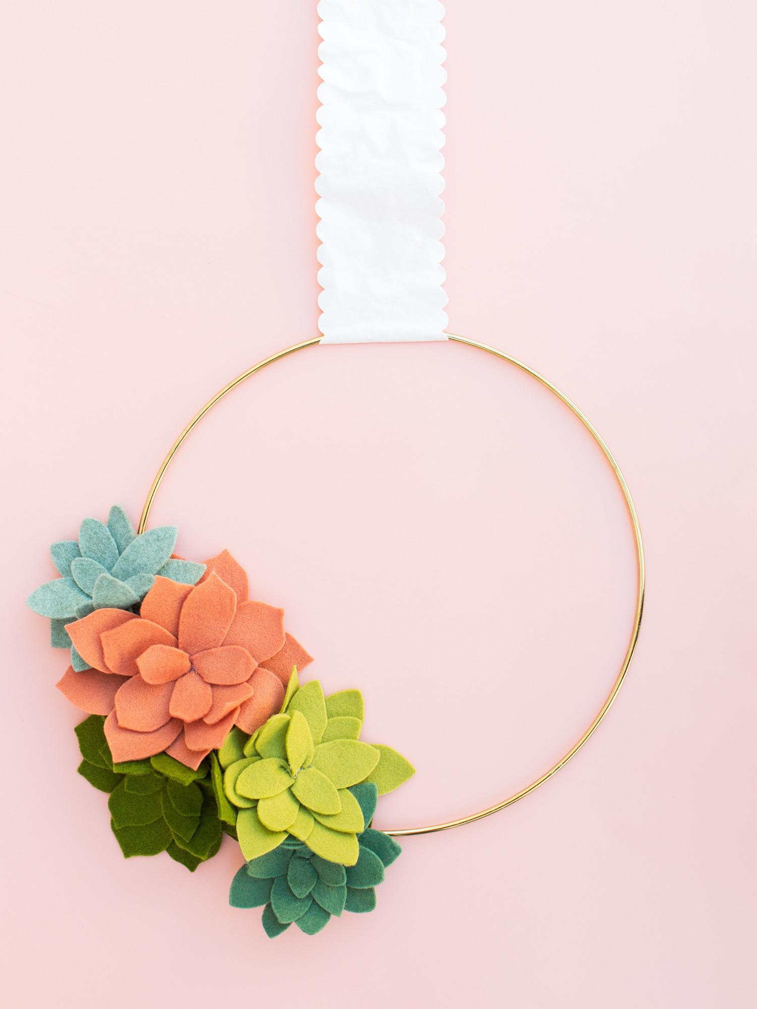 Diy Felt Succulent Wreath Cut Curio