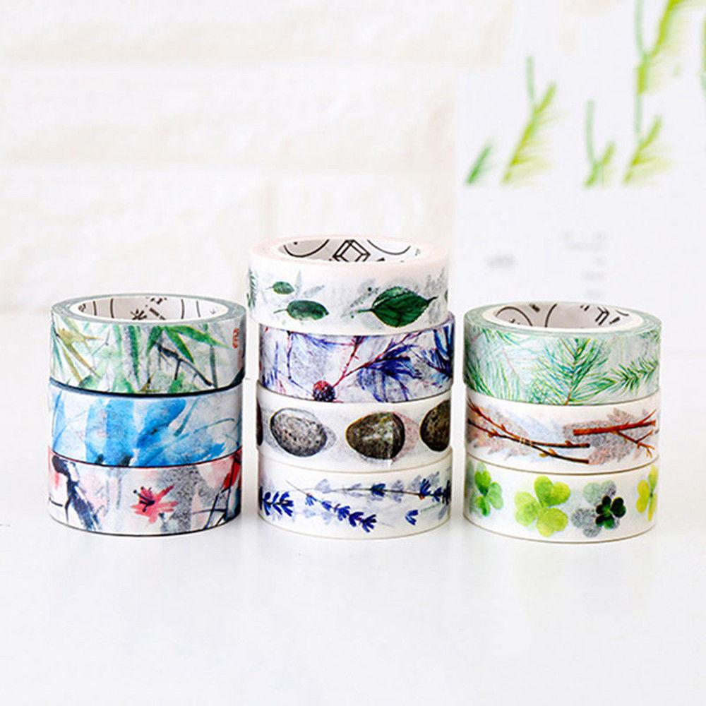 Diy Floral Washi Sticker Decor Roll Paper Masking Adhesive