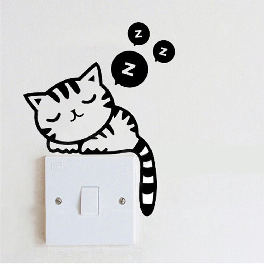 Diy Funny Cute Cat Dog Switch Stickers Wall Home