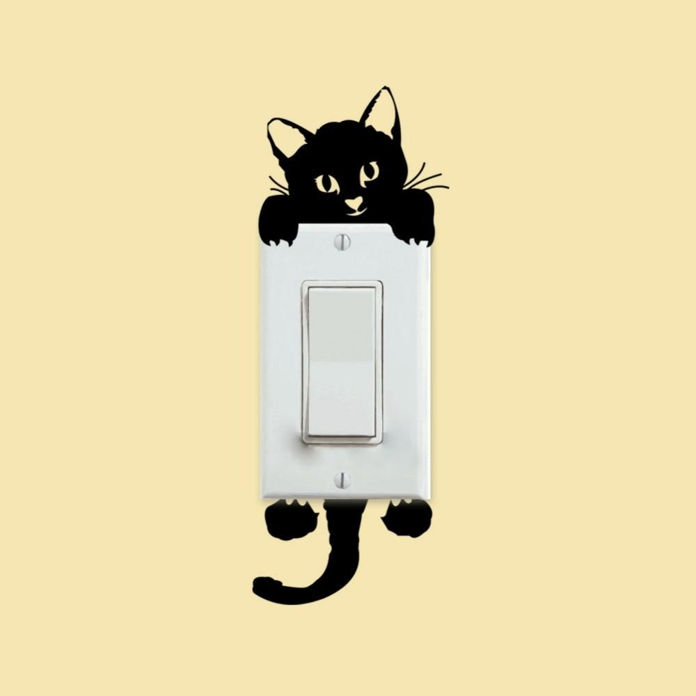 Diy Funny Cute Cat Switch Stickers Wall Home