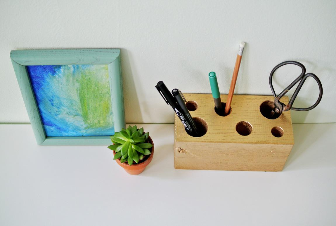 Diy Gilded Wood Block Pencil Holder Farm Fresh Therapy