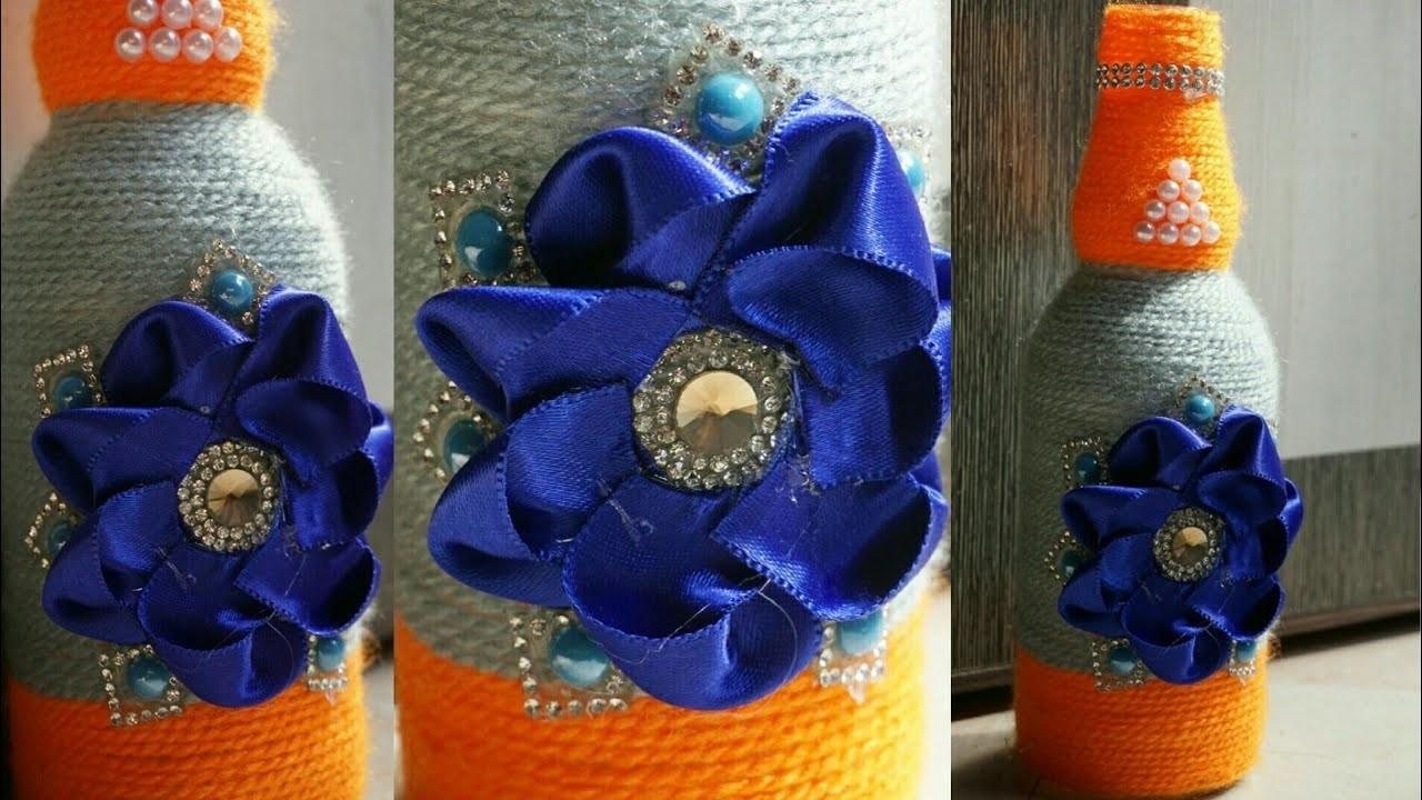 Diy Glass Bottle Crafts Flower Vase Yarn Wrapped