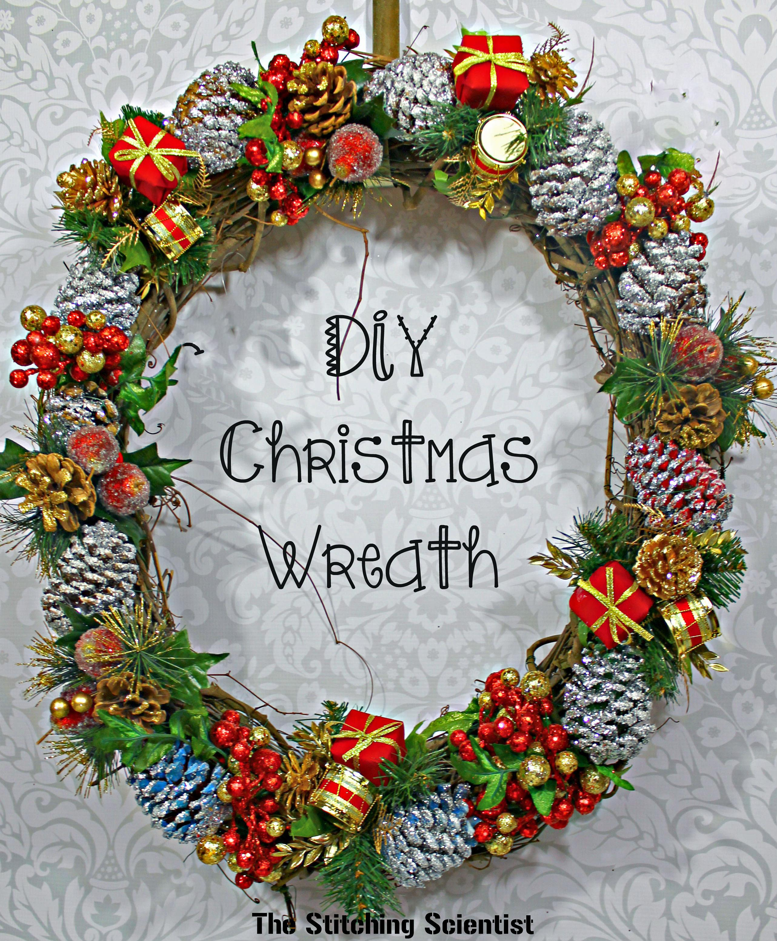 Diy Glitter Pine Cone Wreath Stitching Scientist