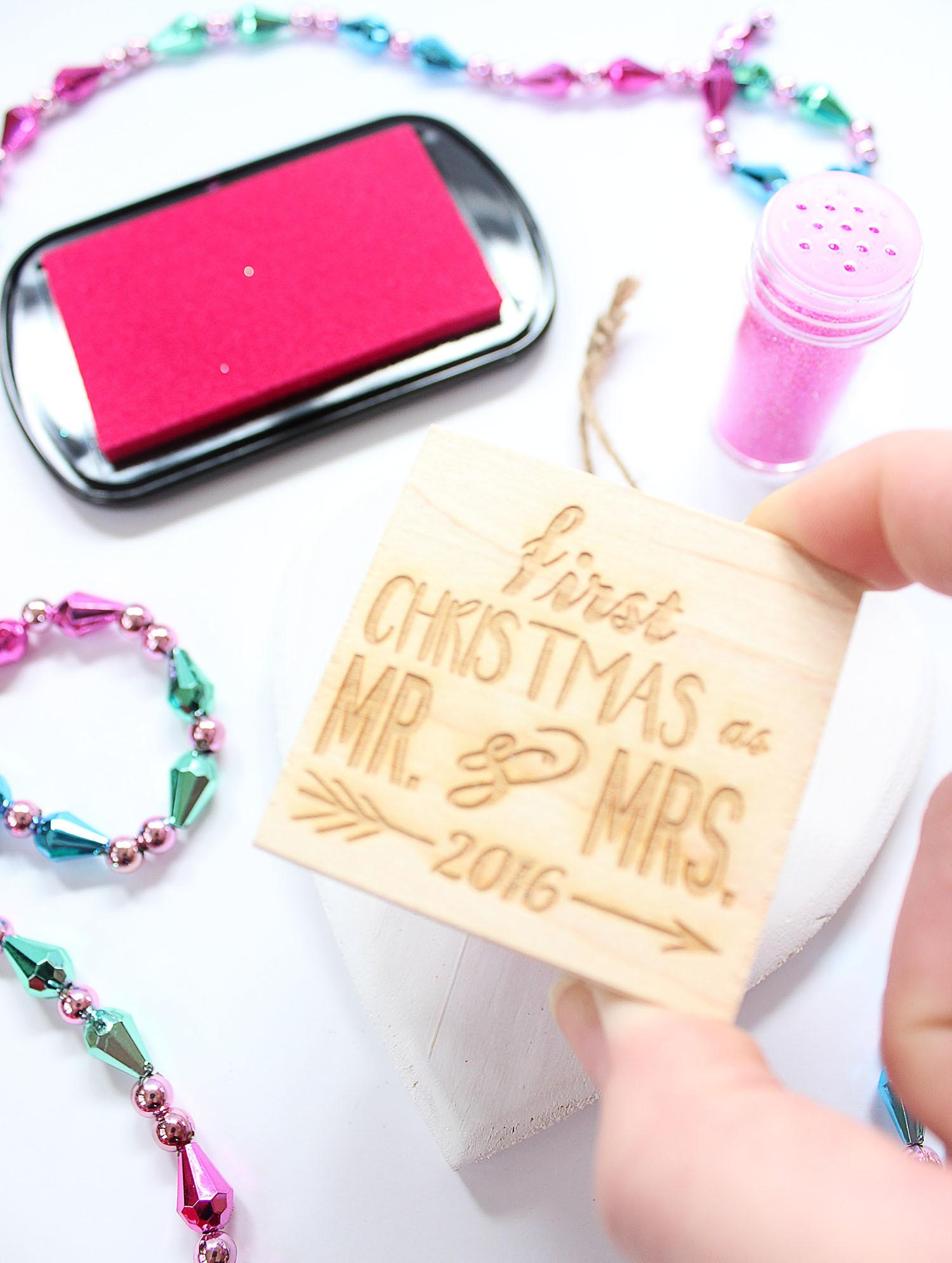 Diy Glitter Stamped Wood Ornaments