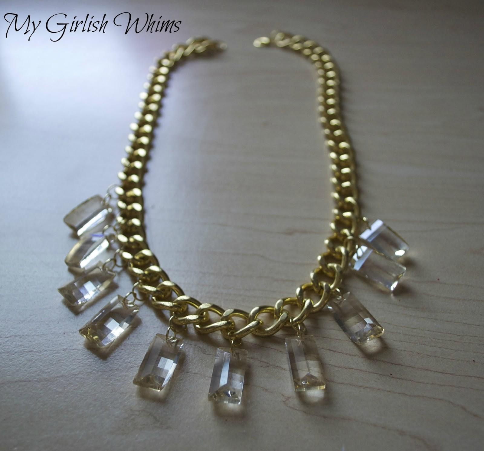Diy Gold Chain Crystal Necklace Girlish Whims