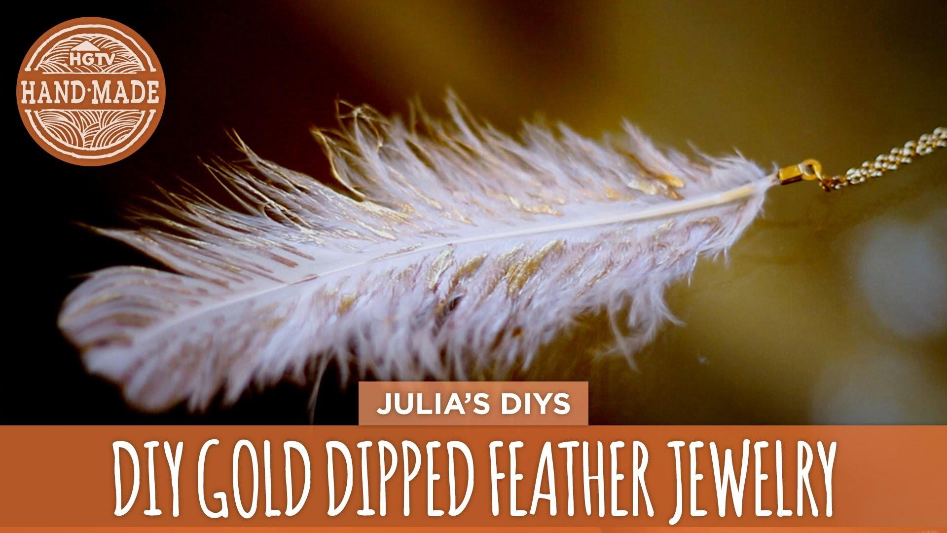 Diy Gold Dipped Feather Jewelry Handmade